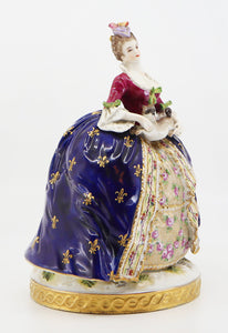 Figurine of a Woman Early 19th Century, Hand-Painted Porcelain