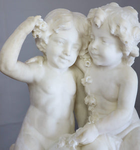 Late 19th Century, Guglielmo Pugi, Italian Marble Sculpture of Two Girls
