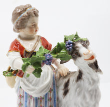 Porcelain Goat and child, Hand painted, Meissen 19th Century