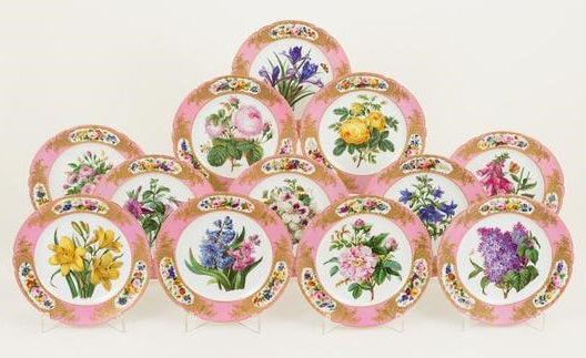 Set of 12 Dessert Service French, Paris, Early 19th Century