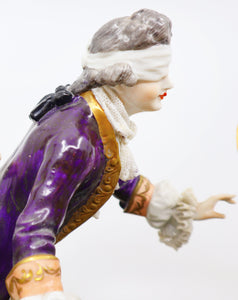 Porcelain Figure Group Playing the Blind Man's Buff 19th Century, French
