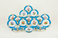 Set of 12 Sèvres Style Dessert Plates French, Hand-Painted with Flowers, circa 1820