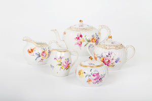 Set of Tea and Coffee Services German Porcelain Hand-painted with Flowers Décor, 19th Century