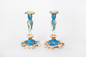 A Pair of Candlesticks on a Hexagonal Scroll Base, Hand-Painted Porcelain, French, 19th Century
