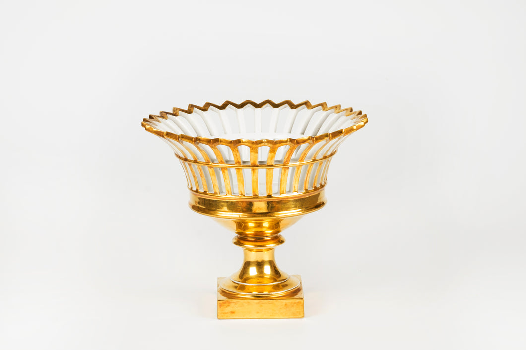 Pierced Basket on Pedestal Porcelain, French 19th Century