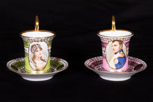Pair of French Empire Tea Cups with Saucers French Empire style, 19th Century
