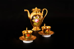 An Empire style 5-Piece  Coffee Set, Gilded Porcelain, Paris, Late 19th Century