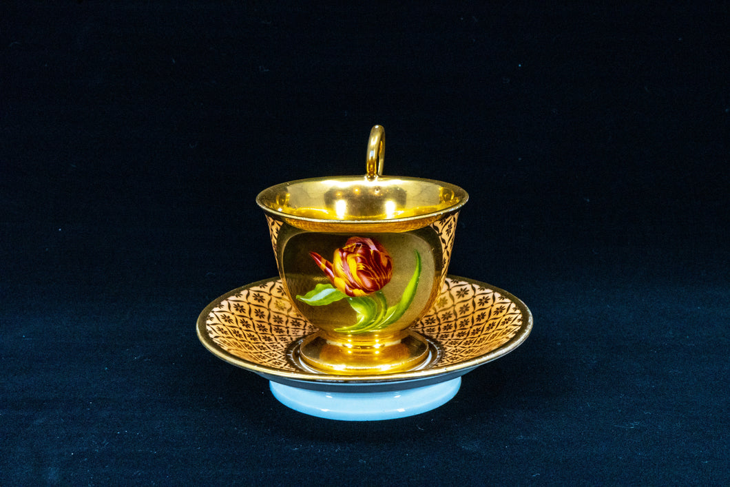 Empire Style Flower Teacup with Saucer, Paris, late 19th Century