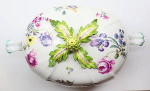 Beautiful Bowl, Hand Painted Flowers with Artichoke Finial, Meissen, 19 Century
