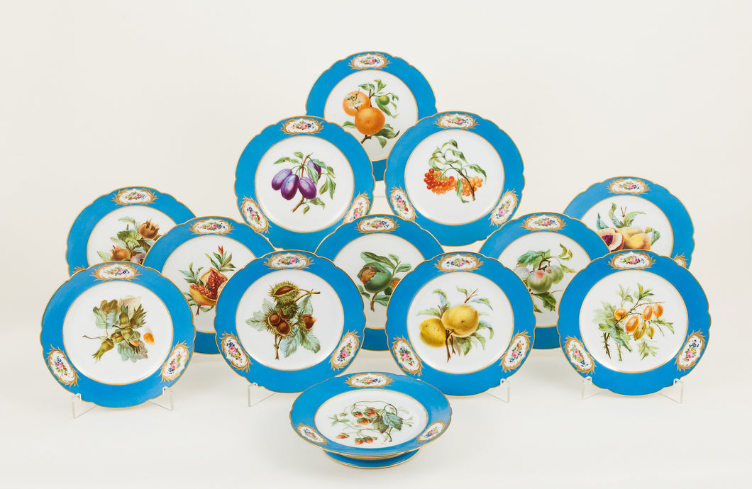 Set of 12 Sèvres Style Dessert Porcelain Plates, Paris 19th Century