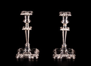 Pair of Candlesticks Silver Plated 'Walker & Hall', 19th Century, English