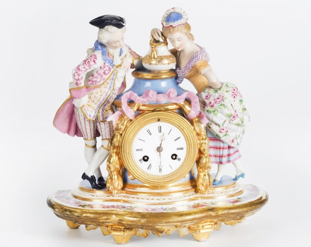 Porcelain Mantle Clock French late 19th century