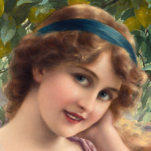 Emile Vernon 1913, French, Young Woman by a Lemon Tree, Oil on Canvas
