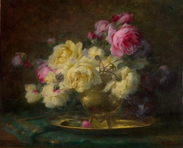 19th Century, Oil on Canvas Flower Painting, André Benoît Perrachon