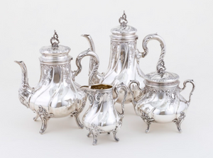 Four-piece German Tea and coffee service Silversmith: Bruckmann & Söhne, Germany Late 19th Century/Early 20th Century Silver (800)