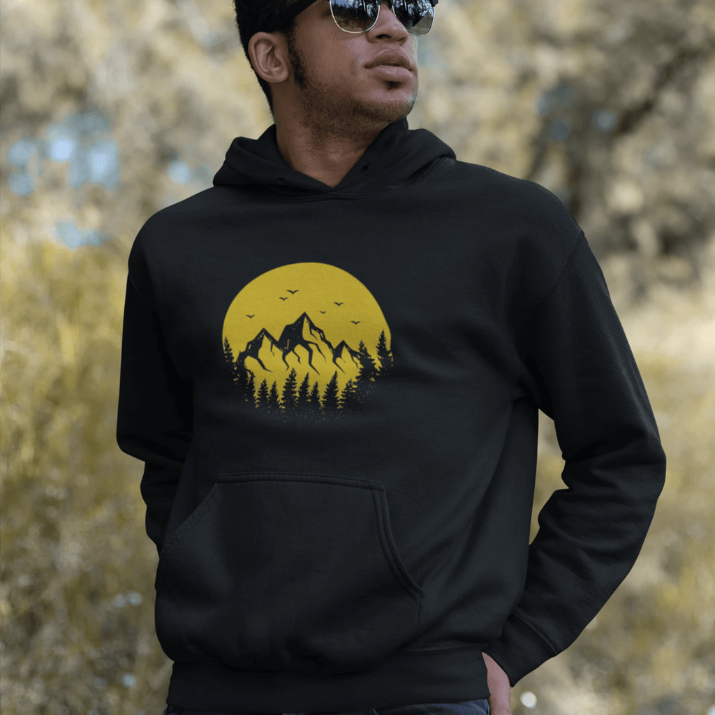 SWEAT A CAPUCHE BIO MOUNTAIN NOIR - Coton Bio