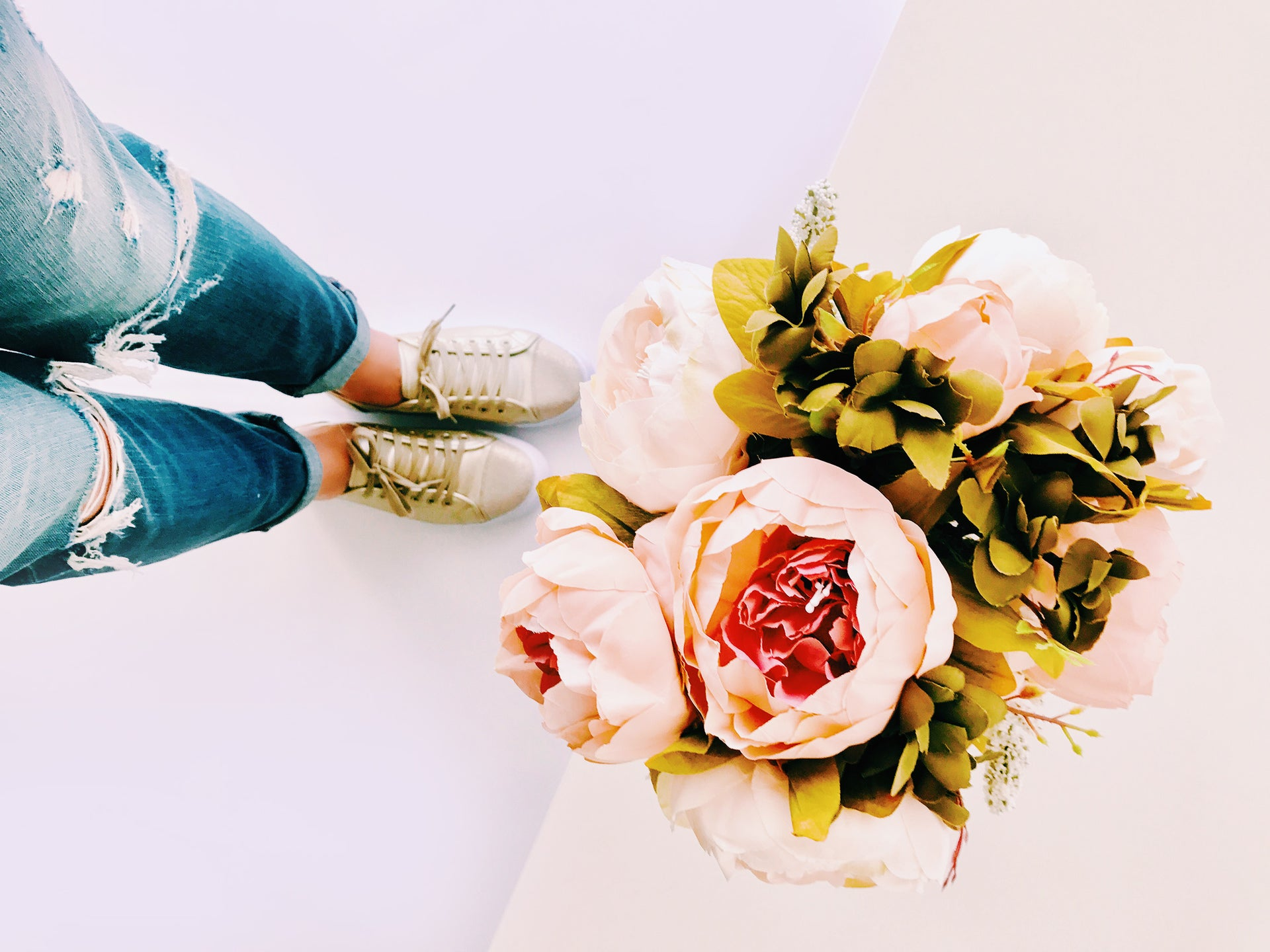 contact form flower bouquet distressed jeans gold sports shoes