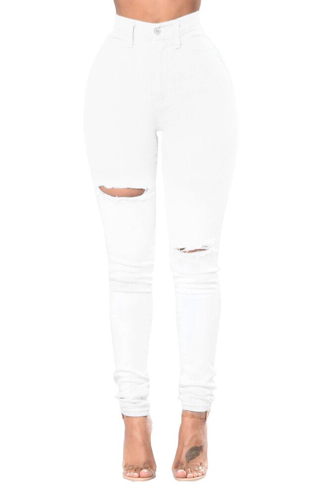 High Waist Distressed White Jeans