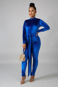 Suede Blue Jumpsuit