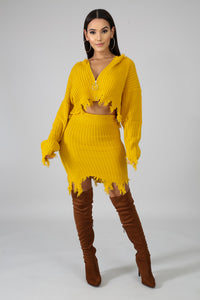 Honey Mustard Shreds Skirt Set
