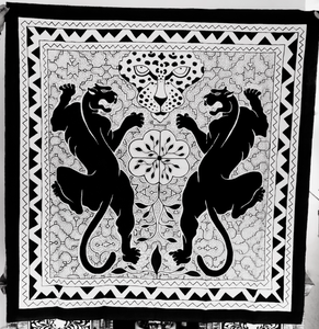 Shipibo Icaros Tapestry Painted with two Jaguars