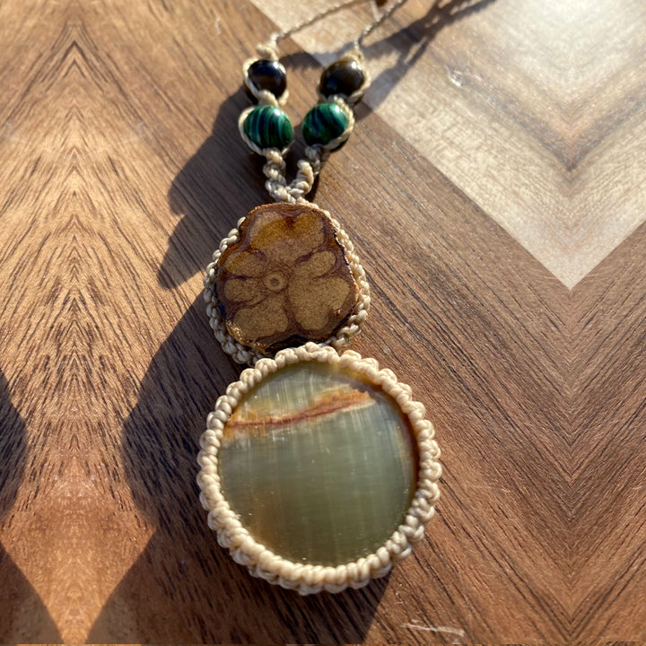 Brown Moonstone Macrame Crystal Necklace