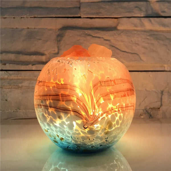 BLOWN GLASS HIMALAYAN SALT LAMP