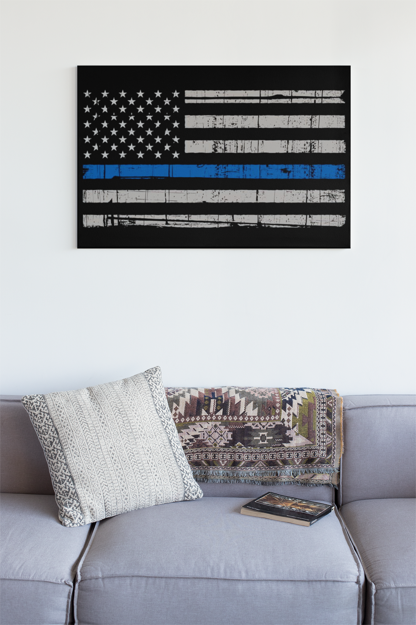 Thin Blue Line Flag Wall Art - Down Home Products