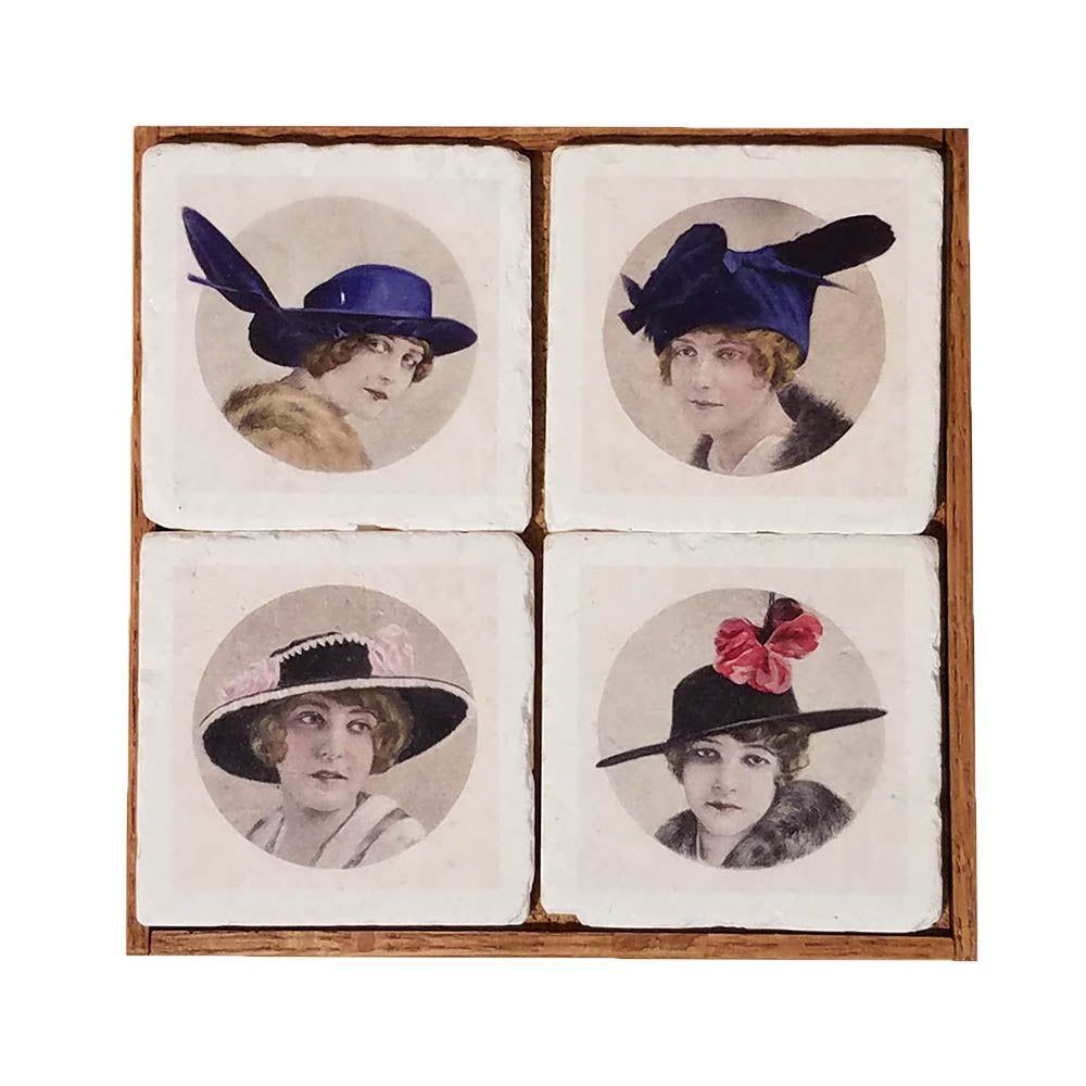 Vintage Ladies With Hats Coaster Set - Down Home Products