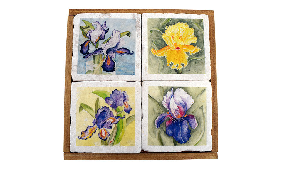 Stone Coaster Set With Watercolor Flowers - Down Home Products