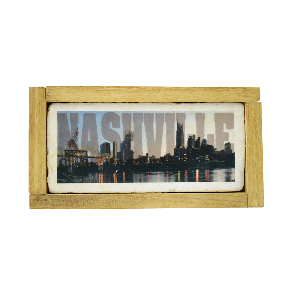 "Nashville Skyline Printed on Marble 4"" x 7"" - Down Home Products"