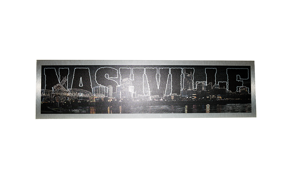 Nashville Skyline Line Art  Printed on Brushed Aluminum - Down Home Products