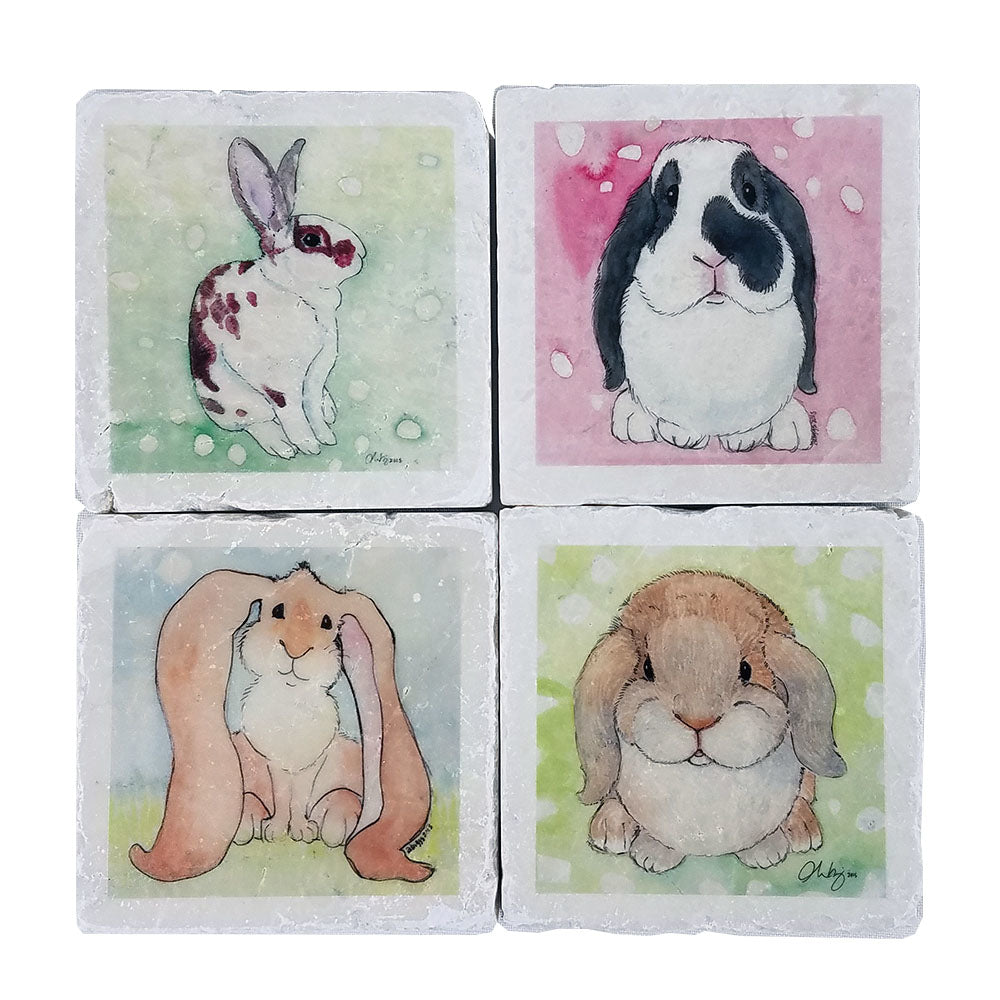 """Breath of Life"" Bunny Coasters"