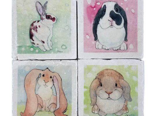 """Breath of Life"" Bunny Coasters - Down Home Products"