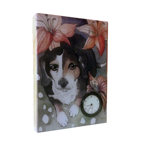 Beagle wood print with clock - Down Home Products