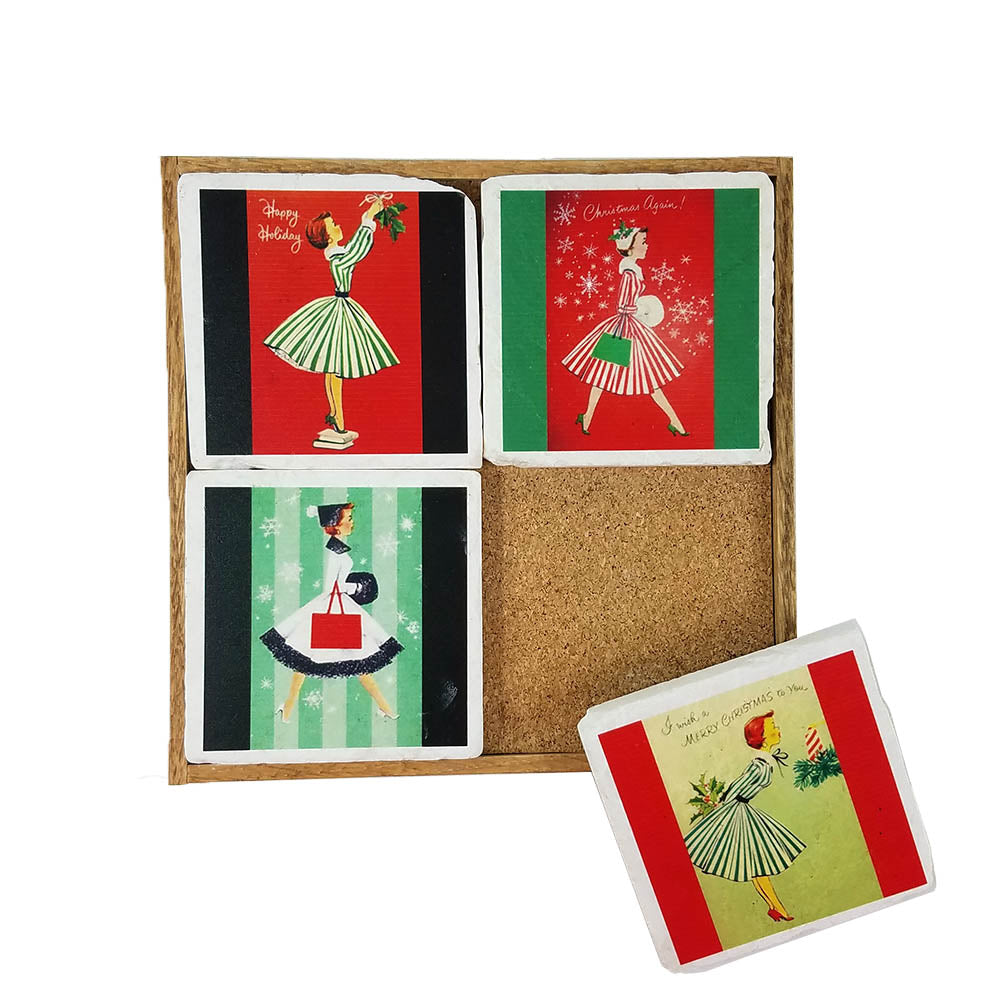 Holiday Vintage Lady Coaster Set