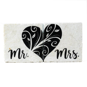 Mr. and Mrs. Heart-Mate Decorative Coaster Set - Down Home Products