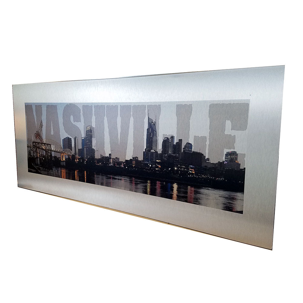Nashville Skyline on Brushed Aluminum