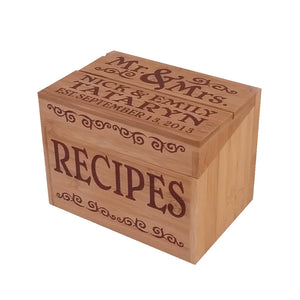 Customized Bamboo Recipe Box - Down Home Products