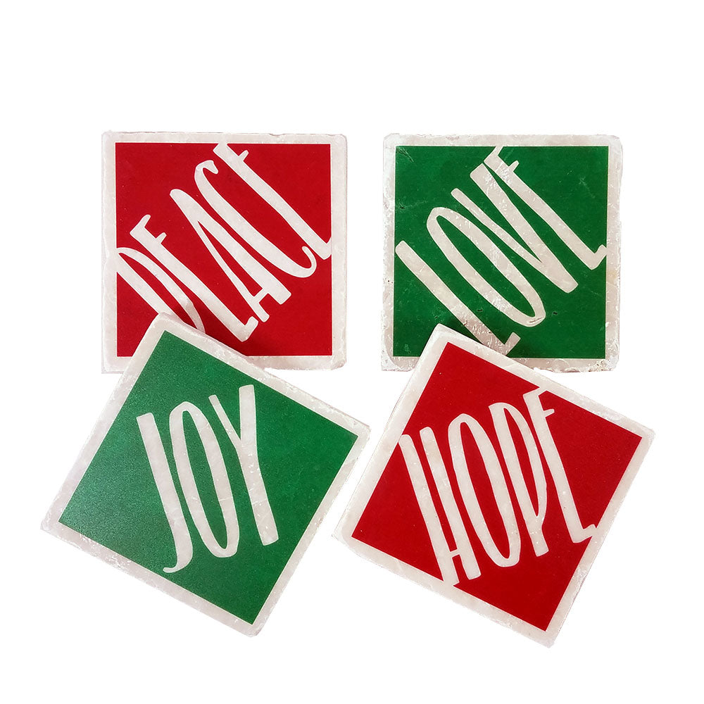 Love, Peace, Joy, Hope Stone Coasters - Down Home Products