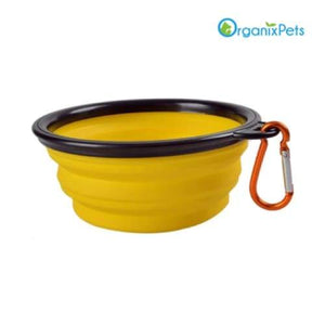 Portable & Collapsible Silicone Dog Travel Bowl - yellow