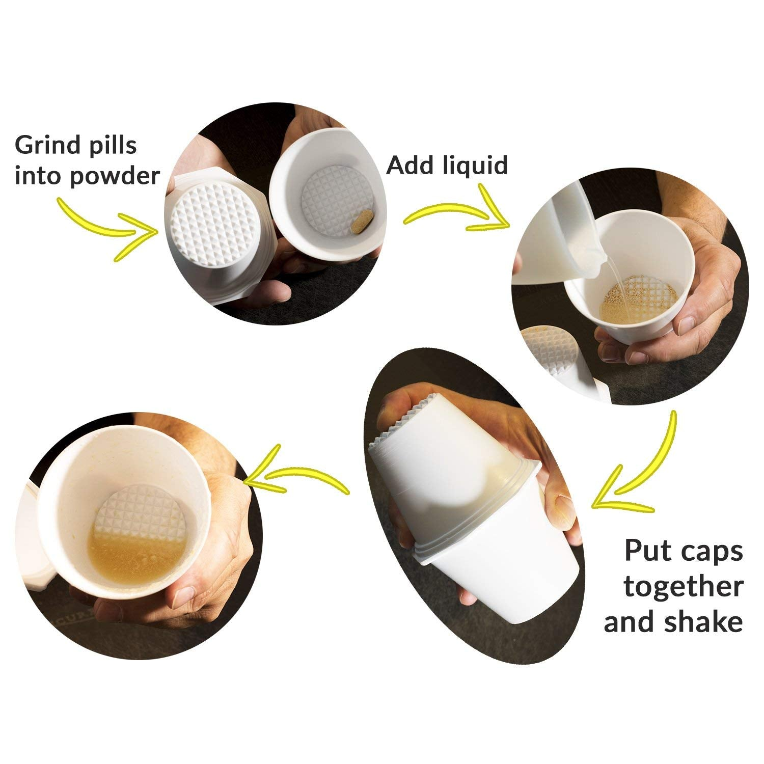 Extra Large Pill Crusher Cups with Pill Cutter
