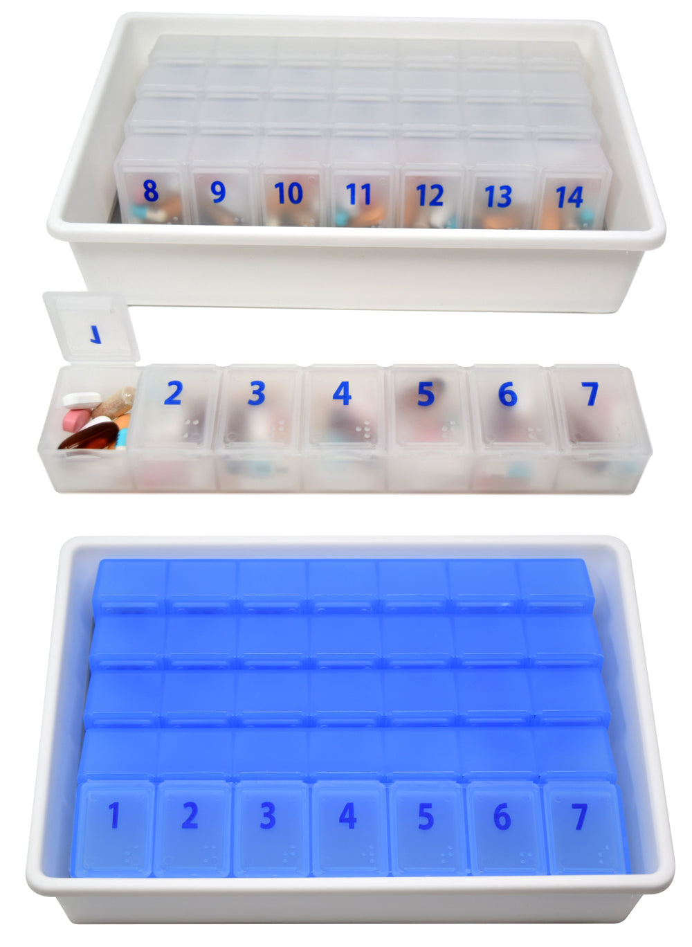 XL Monthly Pill Planner with Individual Weekly Organizers and Storage Tray