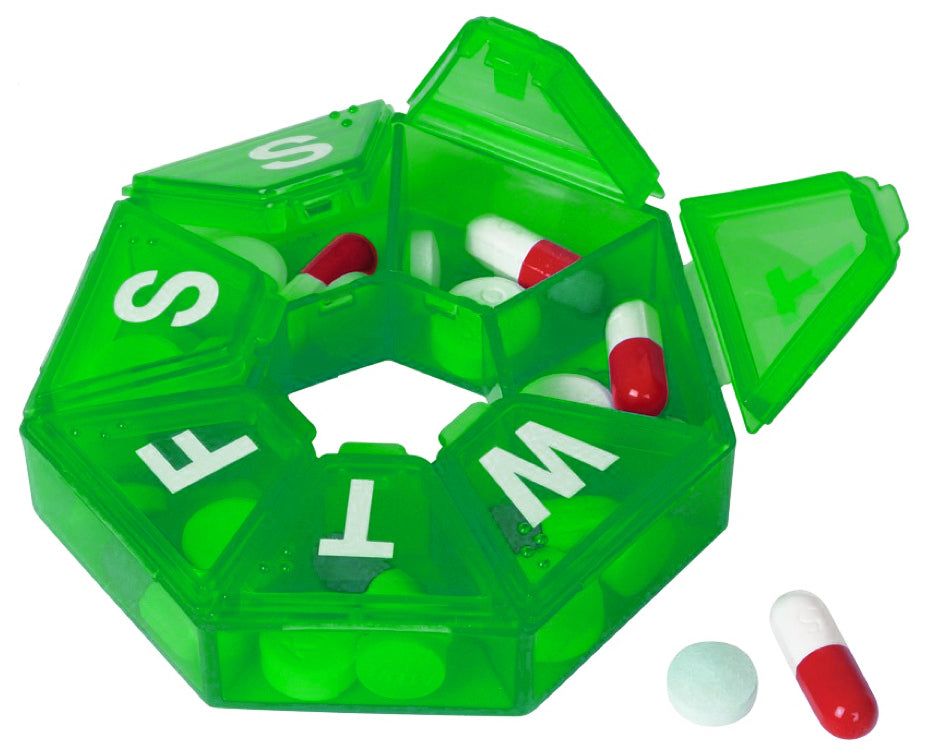 Seven-Sided Pill Organizer 3 Pack of Small,  Blue, Green & Purple with Bonus Medical Alert Card