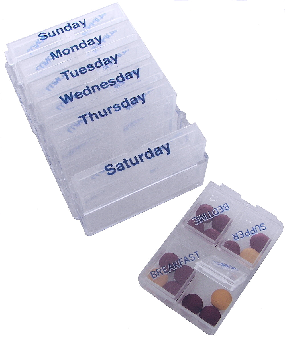 7-Day Weekly Pill Chest with Removable Daily Compartments