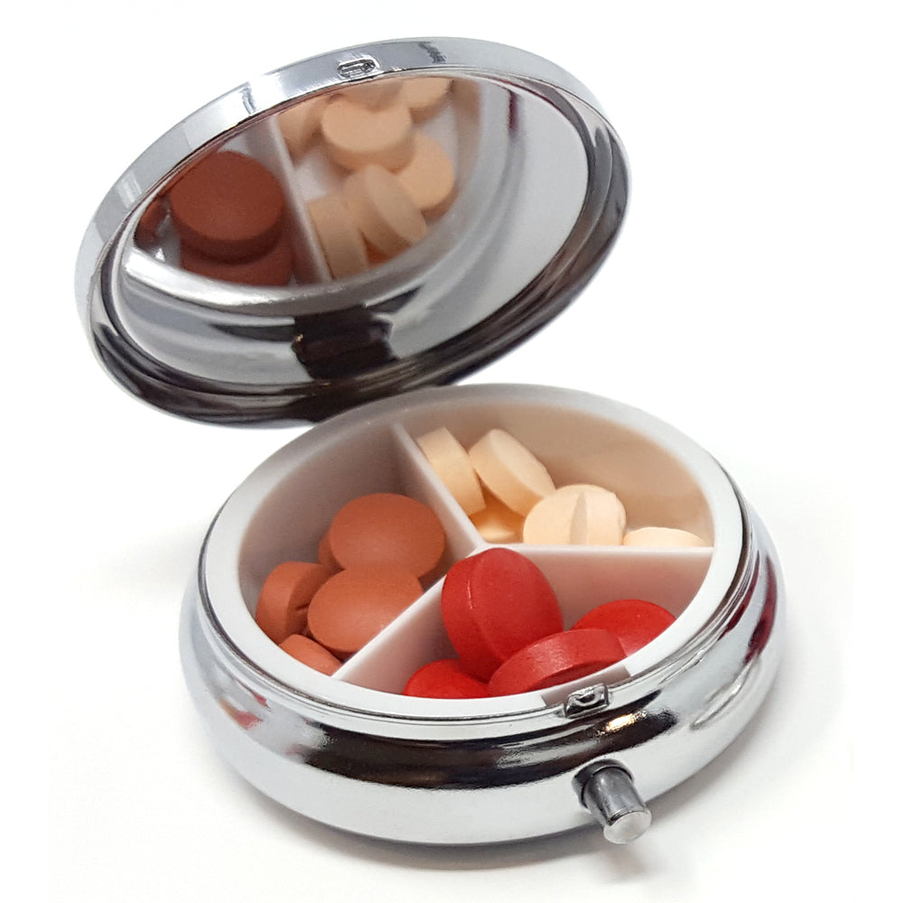 Round Silver 3-Compartment Pill Box with 2 Pill Box Key Rings