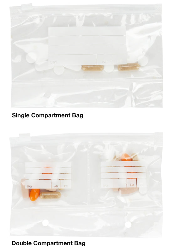 Extra Bags for Wellness Travel Pak - Single and Double Refill Pill Pouches