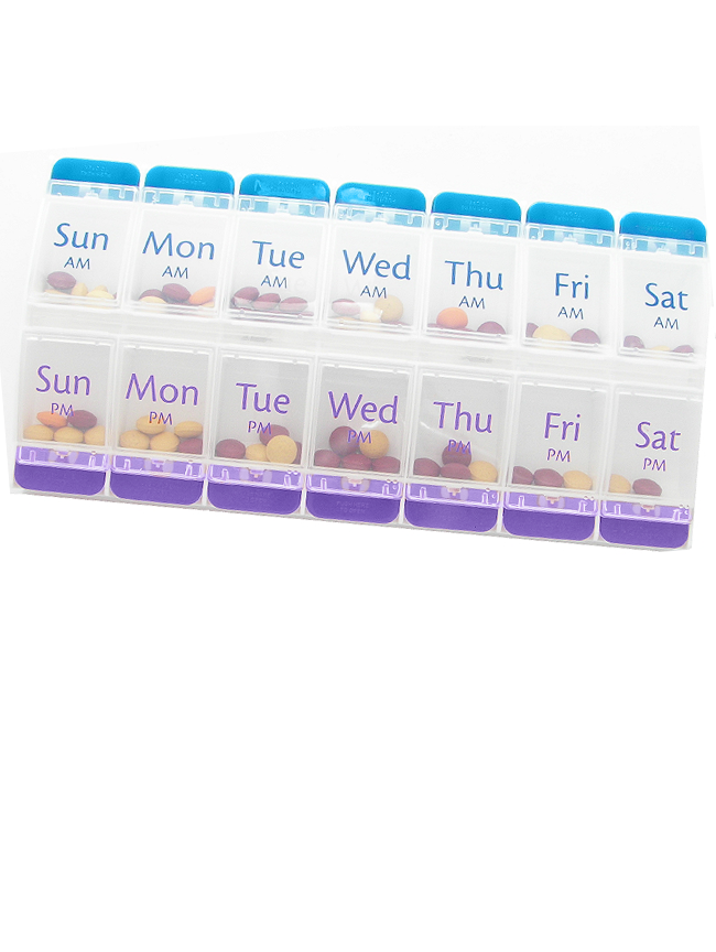 Push-Button AM/PM Weekly Pill Planner
