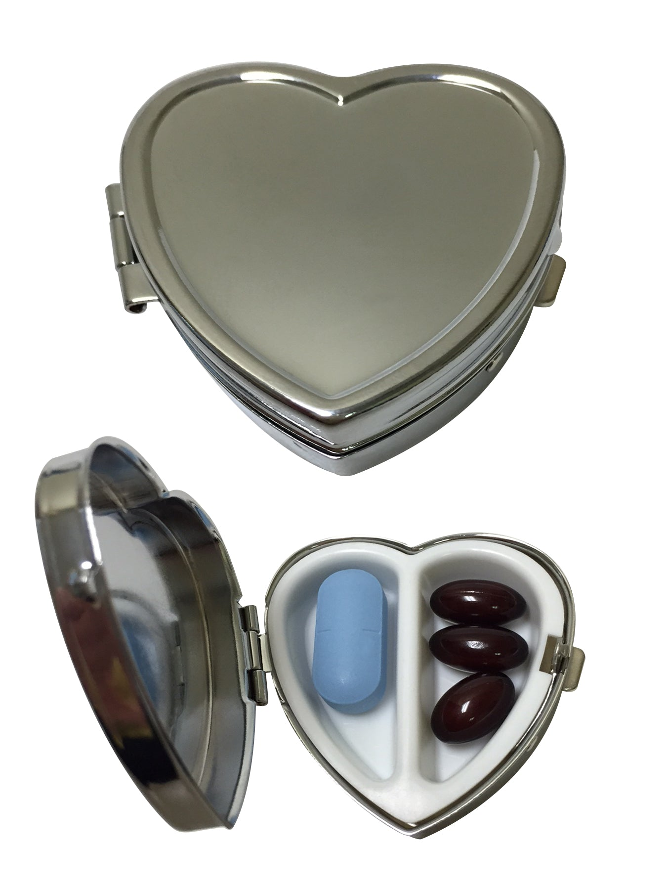 Heart-Shaped Silver 2-Compartment Pill Box