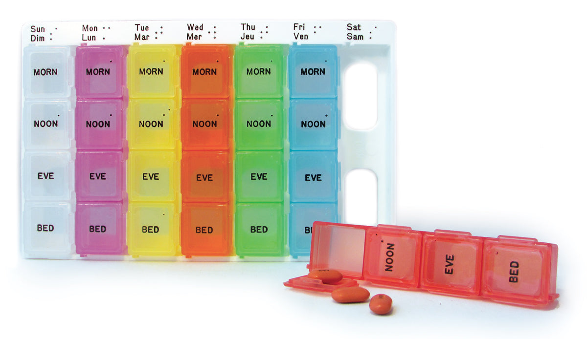 Medium Color-Coded Weekly Med Planner, 4-Compartment